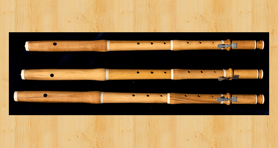 Three Martin Doyle baroque flutes made from boxwood.