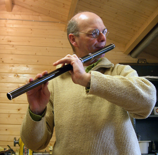 Martin Doyle playing one of his own flutes