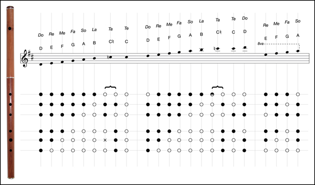 Martin Doyle's fingering chart for simple system keyless D flutes