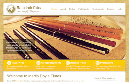 The new-look website for Martin Doyle Flutes.
