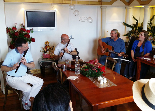 An informal music session at The Lotus-Heart.